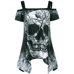 Open Shoulder Skull Handkerchief Tee - Black - 2xl