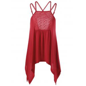 Embroidery Criss Cross Handkerchief Hem Tank Top