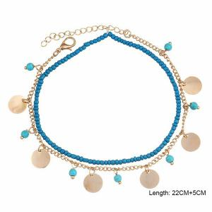 Faux Turquoise Beaded Disc Charm Anklet Set - GOLDEN