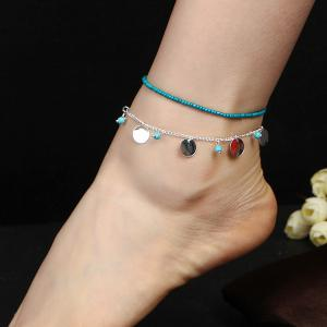 Faux Turquoise Beaded Disc Charm Anklet Set