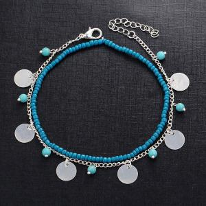 Faux Turquoise Beaded Disc Charm Anklet Set -