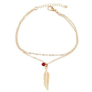 Bead Alloy Feather Layered Charm Anklet -