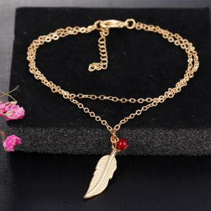 Bead Alloy Feather Layered Charm Anklet - GOLDEN