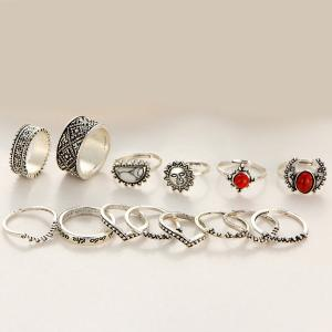 Vintage Engraved Sun Moon Finger Ring Set -