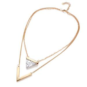 Faux Gemstone V-Shape Triangle Layered Necklace