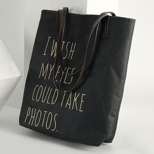 Paper-Like Graphic Print Shopper Bag - BLACK