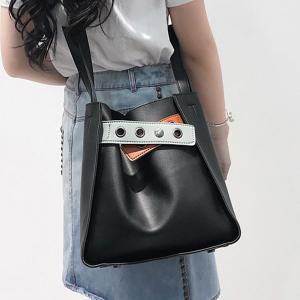 Faux Leather Eyelets Sac à main convertible -