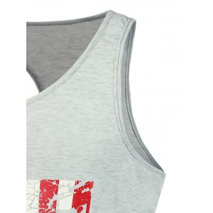 4th of July Muscle American Flag Tank Top - LIGHT GRAY M