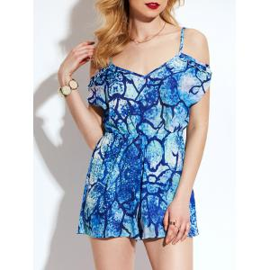 Tie Dyed Print Cold Shoulder Backless Romper - Blue - Xl