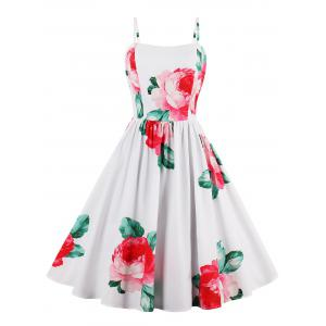Flower Print Sans manches A Line Sundress