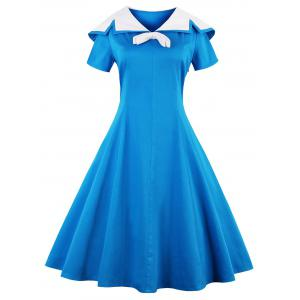 Sailor Collar Short Sleeve Flared Dress - Blue - 2xl
