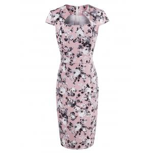 Roses Print High Waist Bodycon Midi Dress