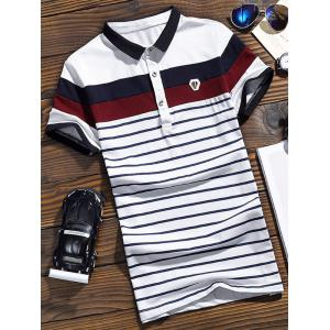 Color Block Short Sleeve Striped Polo T-shirt - White - 4xl