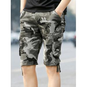 Pockets Drawstring Hem Camo Cargo Shorts - Gray - 32