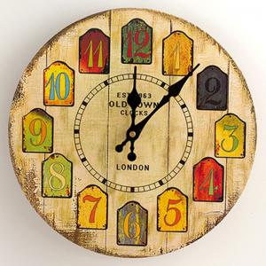 Cartoon Wood Analog Number Round Wall Clock - Yellow - W79 Inch * L79 Inch