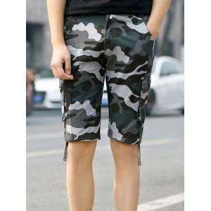 Pockets Drawstring Hem Camo Cargo Shorts - Stone Blue - 38