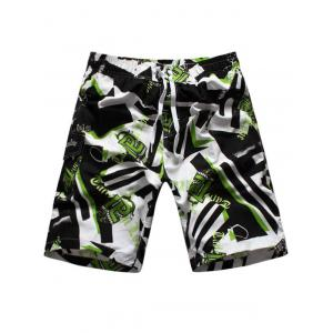 Geometric Graphic Print Drawstring Board Shorts