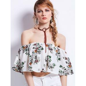 Floral Print Off Shoulder Flounce Cropped Top - White - S