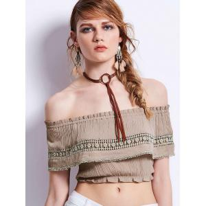 Ruffles Lace Embellished Off Shoulder Cropped Top - Khaki - L