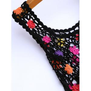Crochet Floral Cover Up Tunic Top - BLACK ONE SIZE