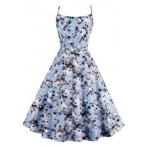 Roses Print High Waist Flare Sun Dress - LIGHT BLUE 2XL