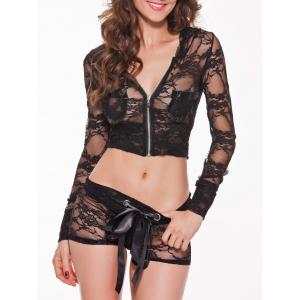 Long Sleeve Hooded Lace Lingerie Set