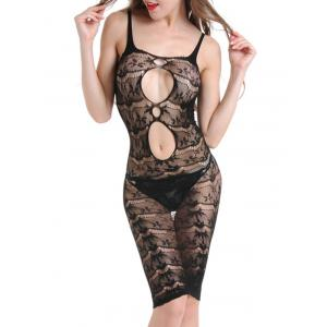Cut Out Sheer Fishnet Slip Dress