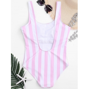 Shaping Striped One Piece Swimsuit - PINK AND WHITE M