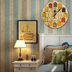 Cartoon Wood Analog Number Round Wall Clock -