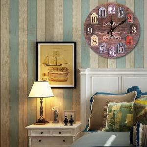 Classics Round Analog Number Wood Wall Clock -