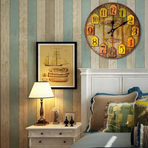 Vintage Analog Number Round Wood Wall Clock - WOOD COLOR 50*50CM