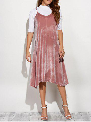 New Cami Velvet Loose Midi Dress PINK ONE SIZE