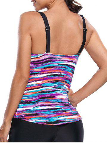 Fashion Colorful Striped Push Up Swim Top - S COLORMIX Mobile