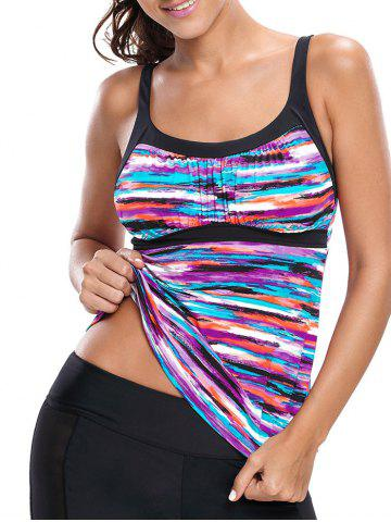 Online Colorful Striped Push Up Swim Top - S COLORMIX Mobile