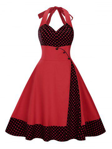 Plus Size Long Polka Dot Halter Vintage Flare Dress - Deep Red - 4xl