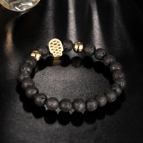 Sale Skull Natural Stone Rhinestone Bracelet - GOLDEN  Mobile