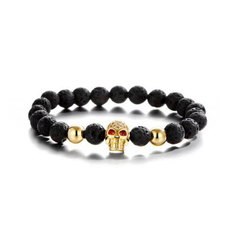 Shop Skull Natural Stone Rhinestone Bracelet - GOLDEN  Mobile