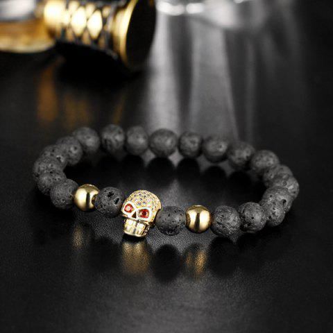 New Skull Natural Stone Rhinestone Bracelet - GOLDEN  Mobile