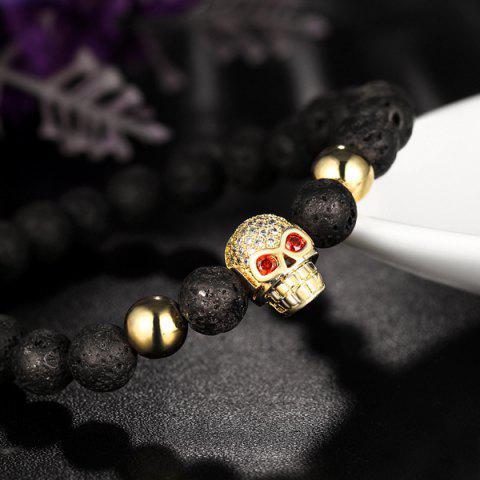Fashion Skull Natural Stone Rhinestone Bracelet - GOLDEN  Mobile