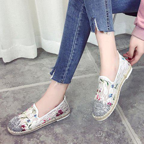 Trendy Sequins Floral Print Flat Shoes - 37 WHITE Mobile