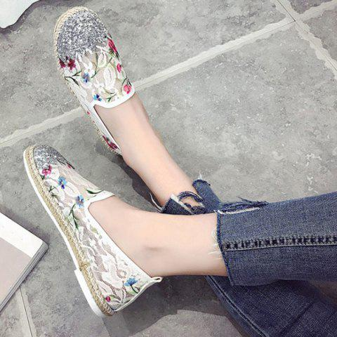 New Sequins Floral Print Flat Shoes - 37 WHITE Mobile
