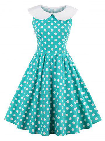 Affordable Collared A Line Polka Dot Sleeveless 50s Dress