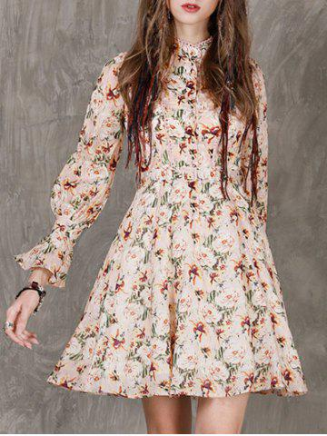 Affordable Stand Neck Floral Print Fit and Flare Dress