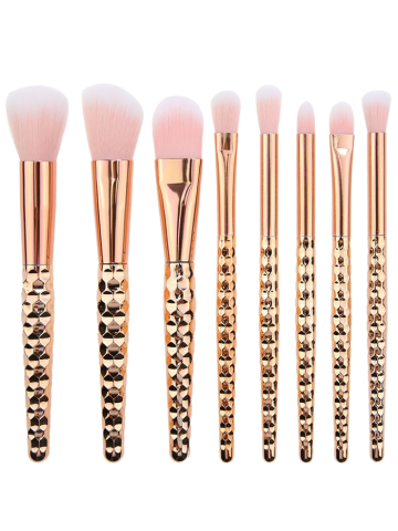 Best 8Pcs Multifunction Honeycomb Handle Design Makeup Brushes Set ROSE GOLD