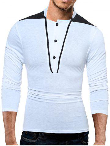 Color Block Panel Stand Collar Long Sleeve T-Shirt - White - L