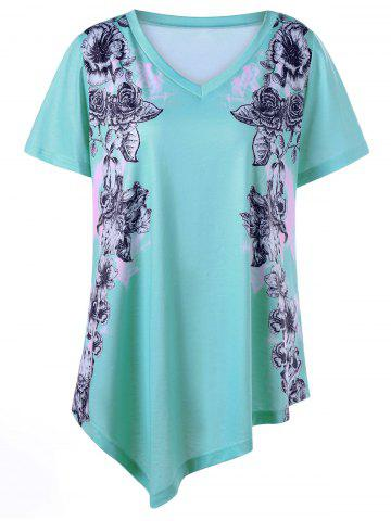 Sale Asymmetrical Floral Plus Size Tunic