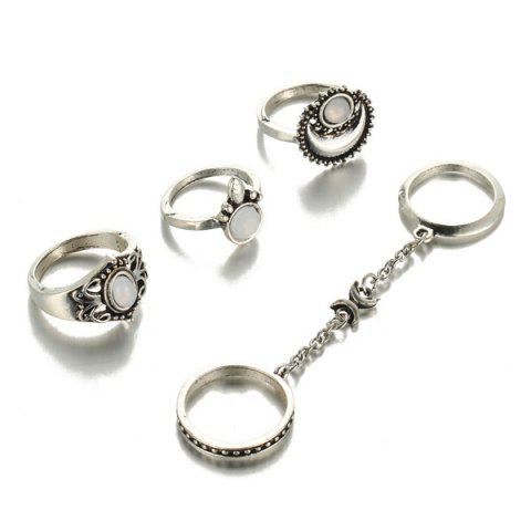 Affordable Retro Faux Opal Moon Rings - SILVER  Mobile