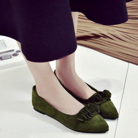 Pointed Toe Flowers Flat Shoes - Army Green - 38