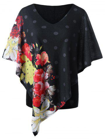 Fancy Floral Plus Size Capelet T-shirt BLACK 2XL