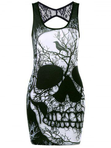 Buy Lace Insert Skull Open Back Tank Dress - Black 2xl